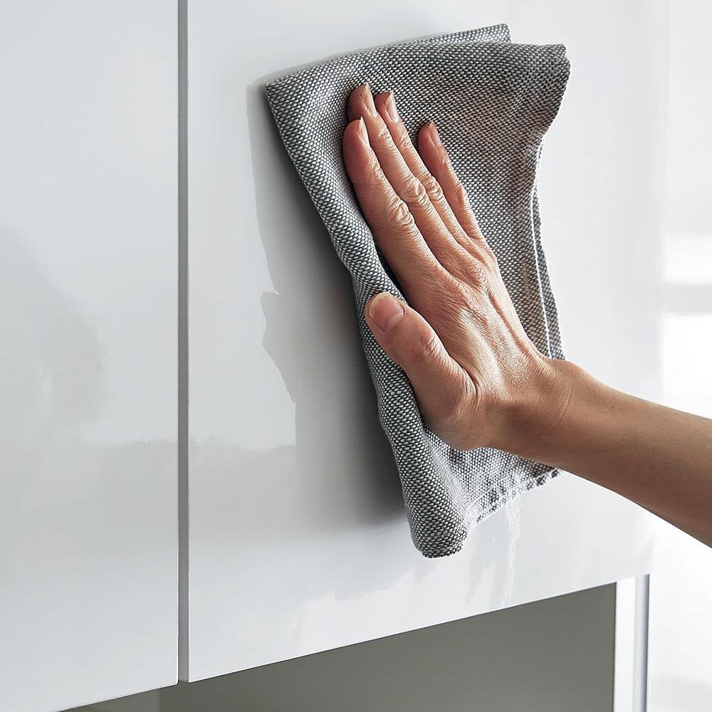 Orga/オルガ スライドキッチン収納 カウンター 幅140cm 前面は汚れがサッと拭き取れて、長くキレイに使えます。※(ア)ホワイトのみ