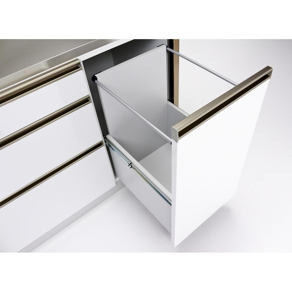 AQUA/アクア ダストダイニングボード・キッチンボード 幅107cm ダストボックス用の大きな引き出しも内部化粧仕上げ。汚してしまっても拭き掃除がしやすく安心です。