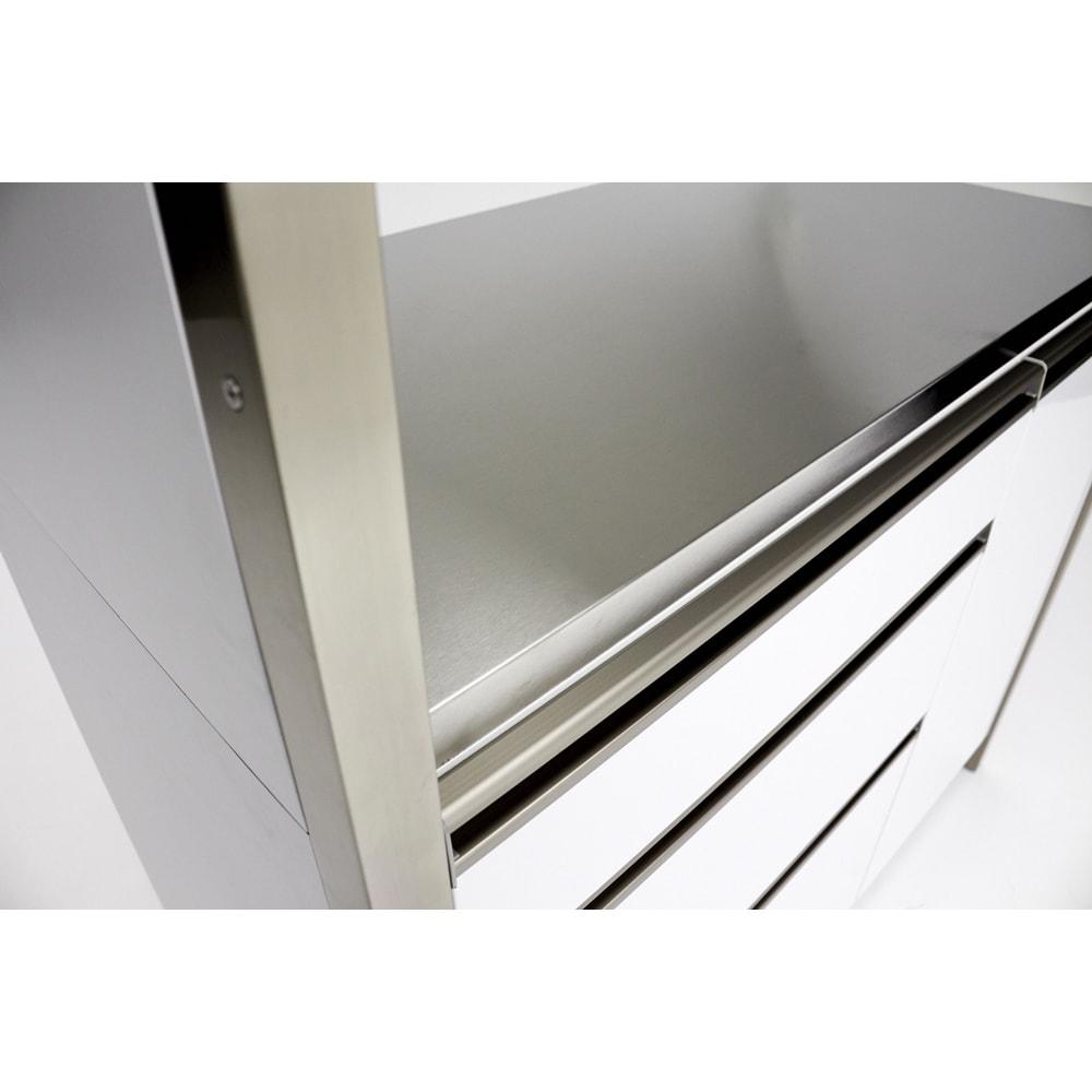 AQUA/アクア ダストダイニングボード・キッチンボード 幅107cm 中天板はステンレスで熱汚れに強く、お手入れも簡単な点が魅力。