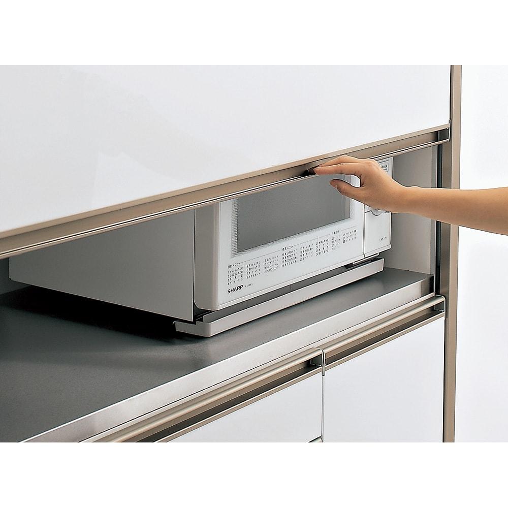 AQUA/アクア ダストダイニングボード・キッチンボード 幅107cm 上下スライド扉 扉を下げてオープン部をサッと目隠ししてすっきり。