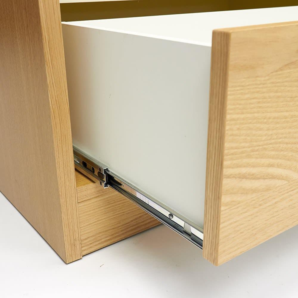 NexII ネックス2 天然木キッチン収納 カウンター 幅160cm 引き出しはフルスライドレールを採用し、奥までしっかりと引き出せます。