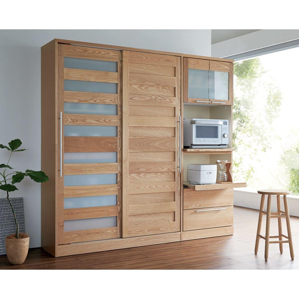 NexII ネックス2 天然木キッチン収納 キャビネット 幅120cm ナチュラル 美しい木目が大人の上質なインテリアを演出。
