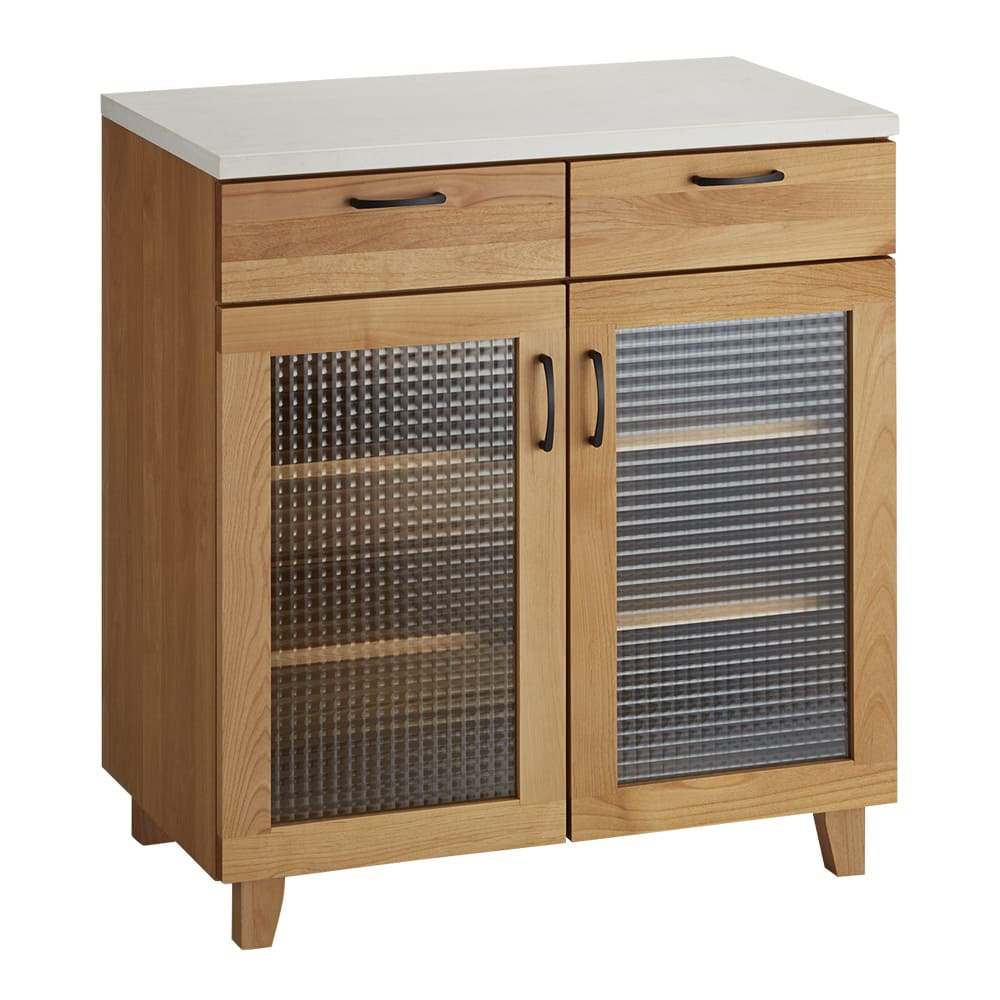 Pippi/ピッピ アルダー材コンパクトキッチン カウンター 幅80.5cm 引き出しと扉の収納機能の組み合わせで、食器からストック食品までをまとめて収納。
