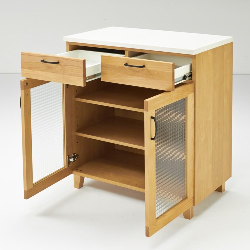 Pippi/ピッピ アルダー材コンパクトキッチン カウンター 幅80.5cm 小引き出し付きで細々したカトラリーやキッチン雑貨もすっきり整理整頓できます。
