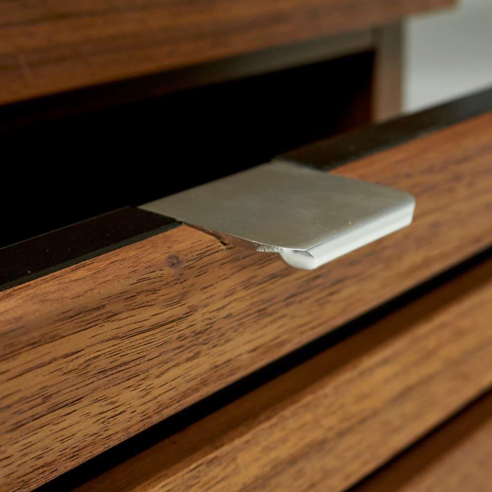 Grid/グリッド 薄型収納 チェスト 幅40.5cm高さ84.5cm クールなアルミ製の取っ手がさりげないアクセントに。