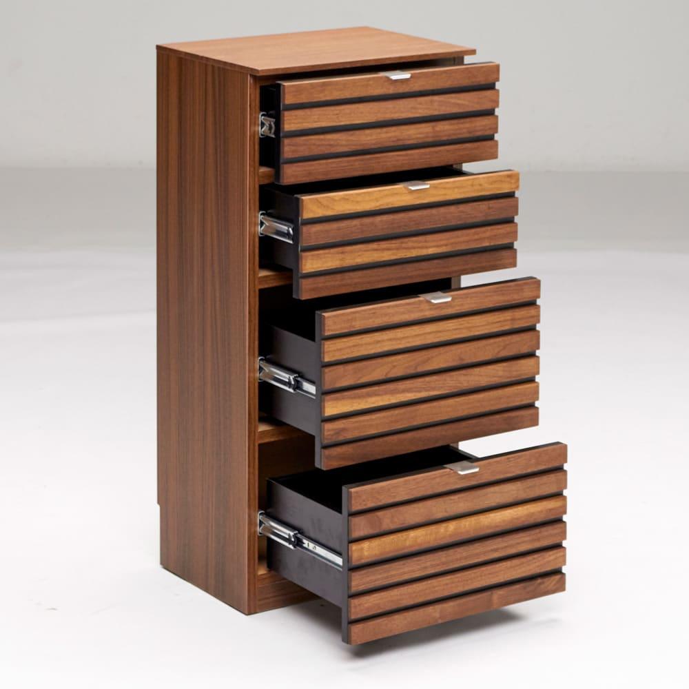Grid/グリッド 薄型収納 チェスト 幅40.5cm高さ84.5cm 引き出は開閉しやすいレール付