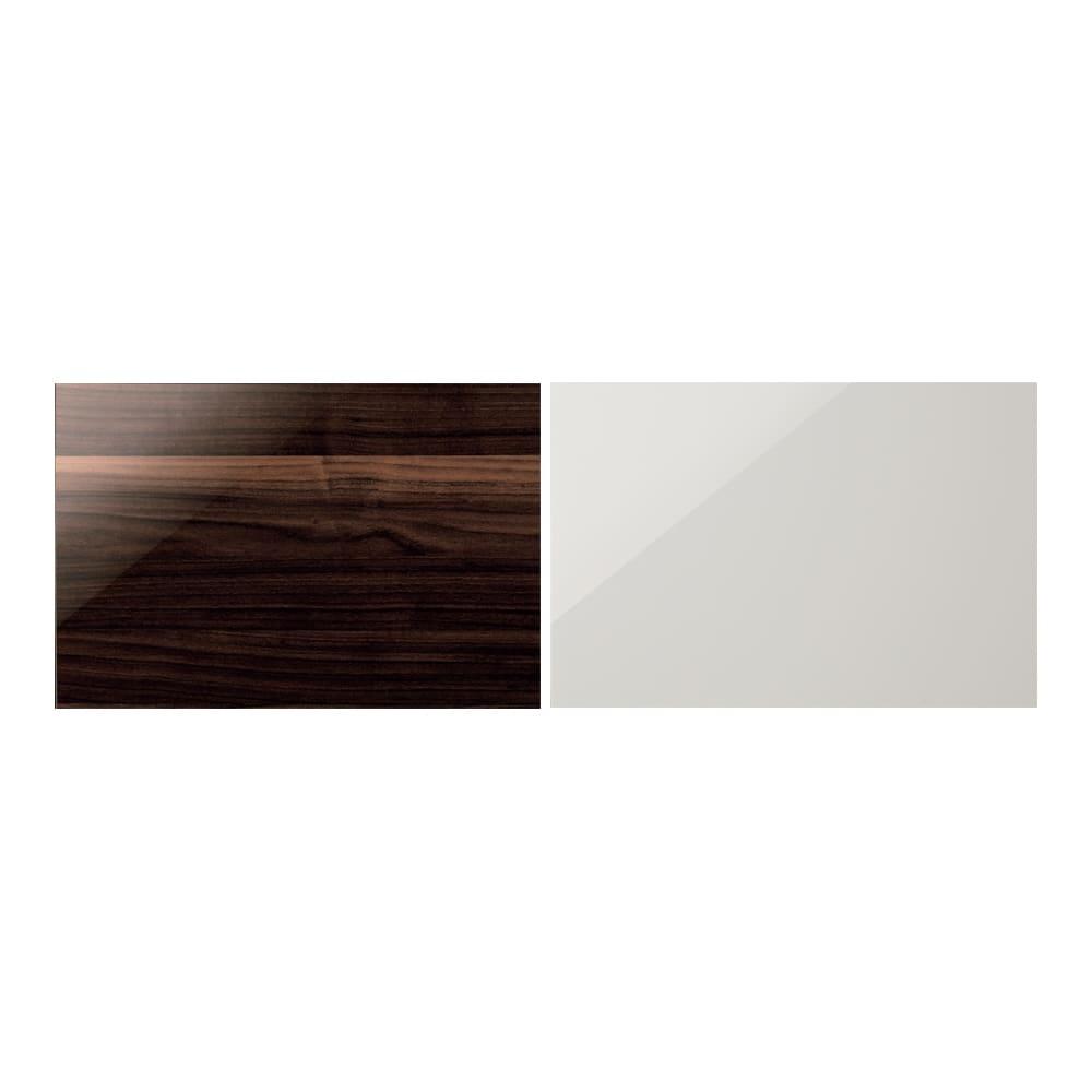 Rossi/ロッシ カウンター下収納庫 収納庫幅149奥行20cm 左から(ア)ダークブラウン、(イ)ホワイト つややかで美しく機能的なハイグロス仕上げ 天板と前面は光沢を放つハイグロスシート貼り。耐久性があり、汚れも簡単に拭き取れます。