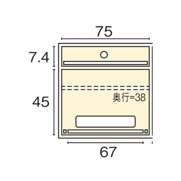 ウォルナット格子リビング収納シリーズ PCデスク 幅80cm 内寸図
