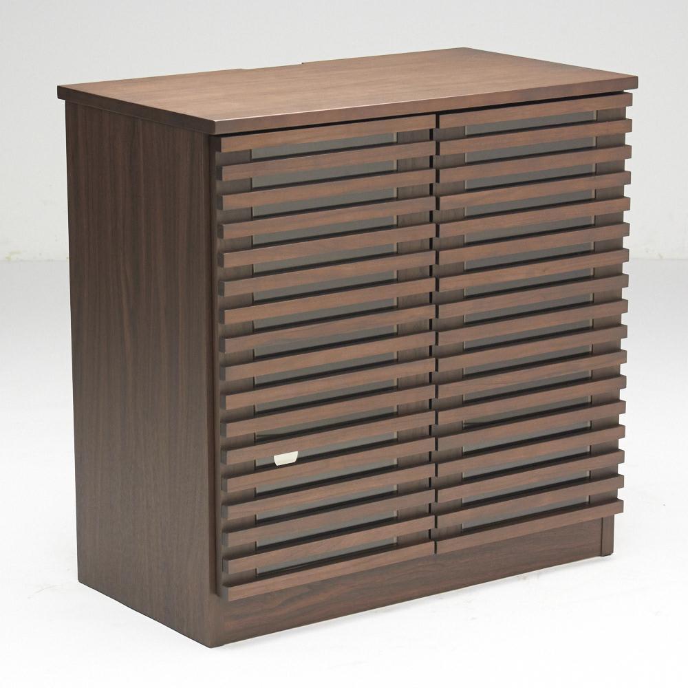 ウォルナット格子リビング収納シリーズ 扉タイプ 幅80cm 扉を閉め棚板状態