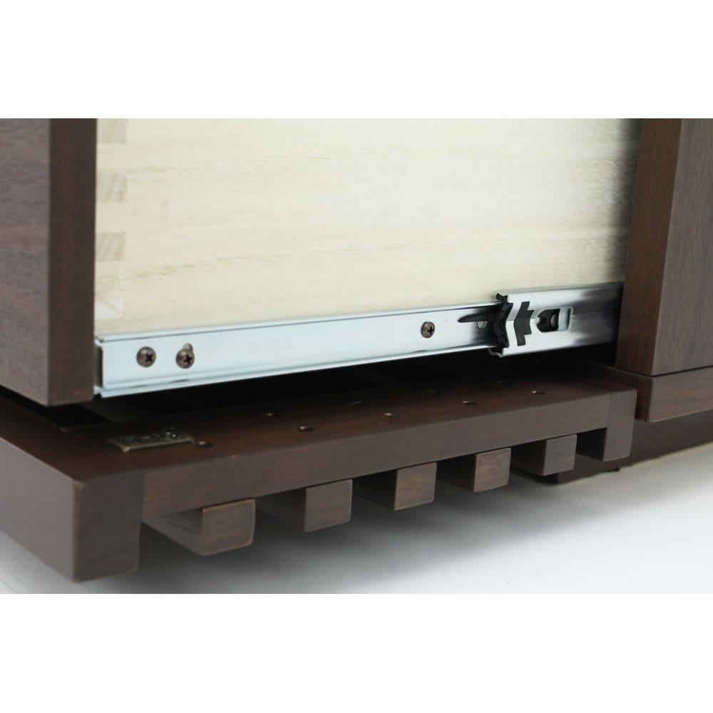 格子デザインシリーズ(ウォルナット) テレビ台 幅150cm 引き出しはフルオープンのスライドレール式