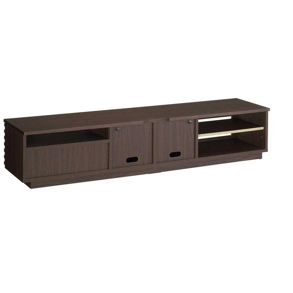 格子デザインシリーズ(ウォルナット) テレビ台 幅180cm 背面デッキ収納部は放熱のためのオープン仕様。中央の収納部背面下側にコード穴があります