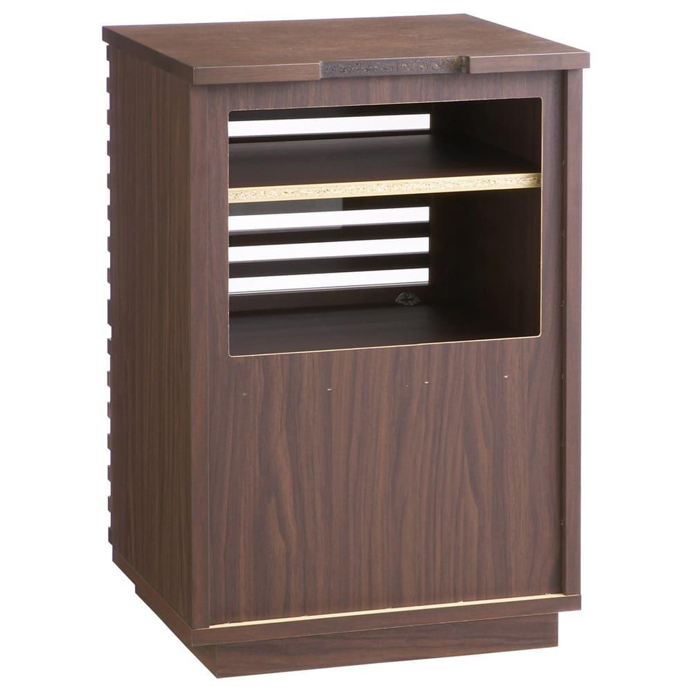 格子デザインシリーズ(ウォルナット) テレビサイドキャビネット 家電収納部の背面は、機器の故障の原因となる熱のこもりを放熱しやすいオープン仕様