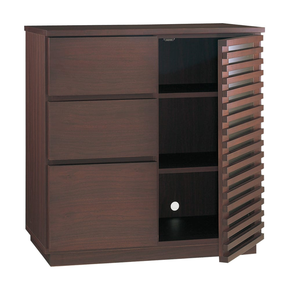 格子デザインシリーズ(ウォルナット) サイドボード 扉内には可動棚板が2枚あります。