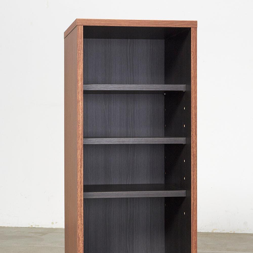Renner/レナー リビングボード サイドシェルフ 幅40cm 付属の可動棚(3枚)は6cmピッチで高さ調節ができます。