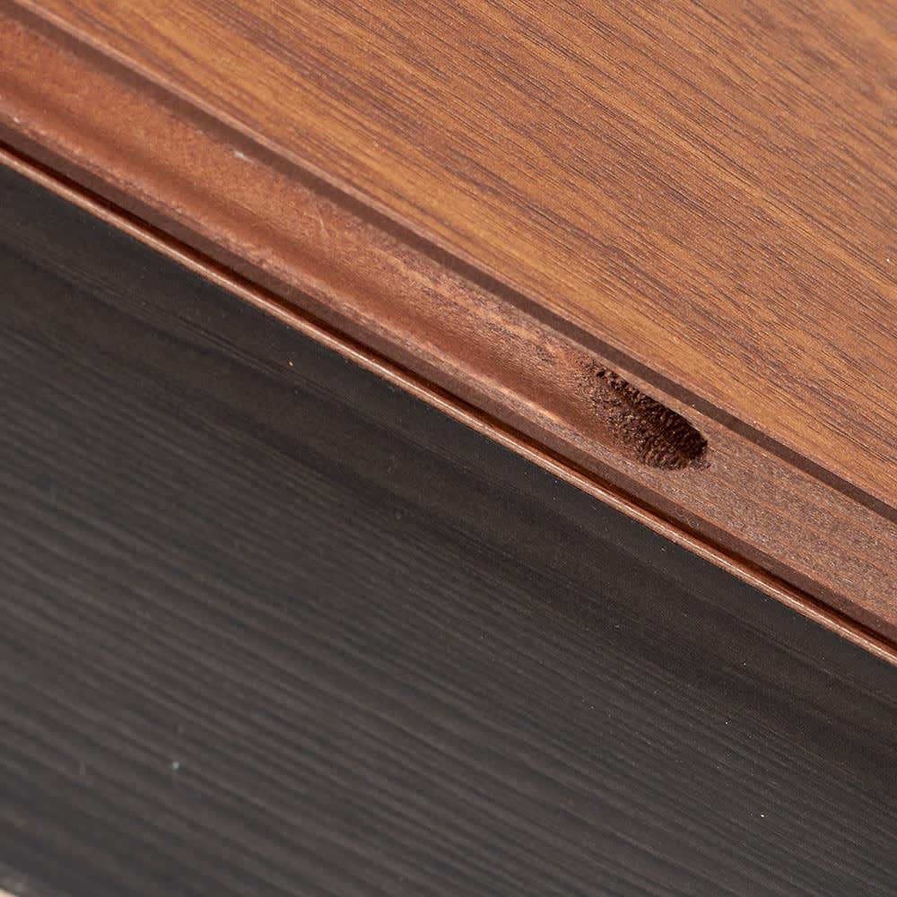 Renner/レナー リビングボード サイドシェルフ 幅40cm 引き出し前板の上部に取っ手の加工があります。
