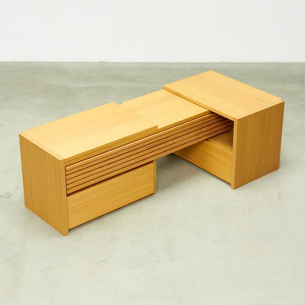 Loire/ロアール 天然木格子伸縮テレビ台 幅125~234cm L字にも