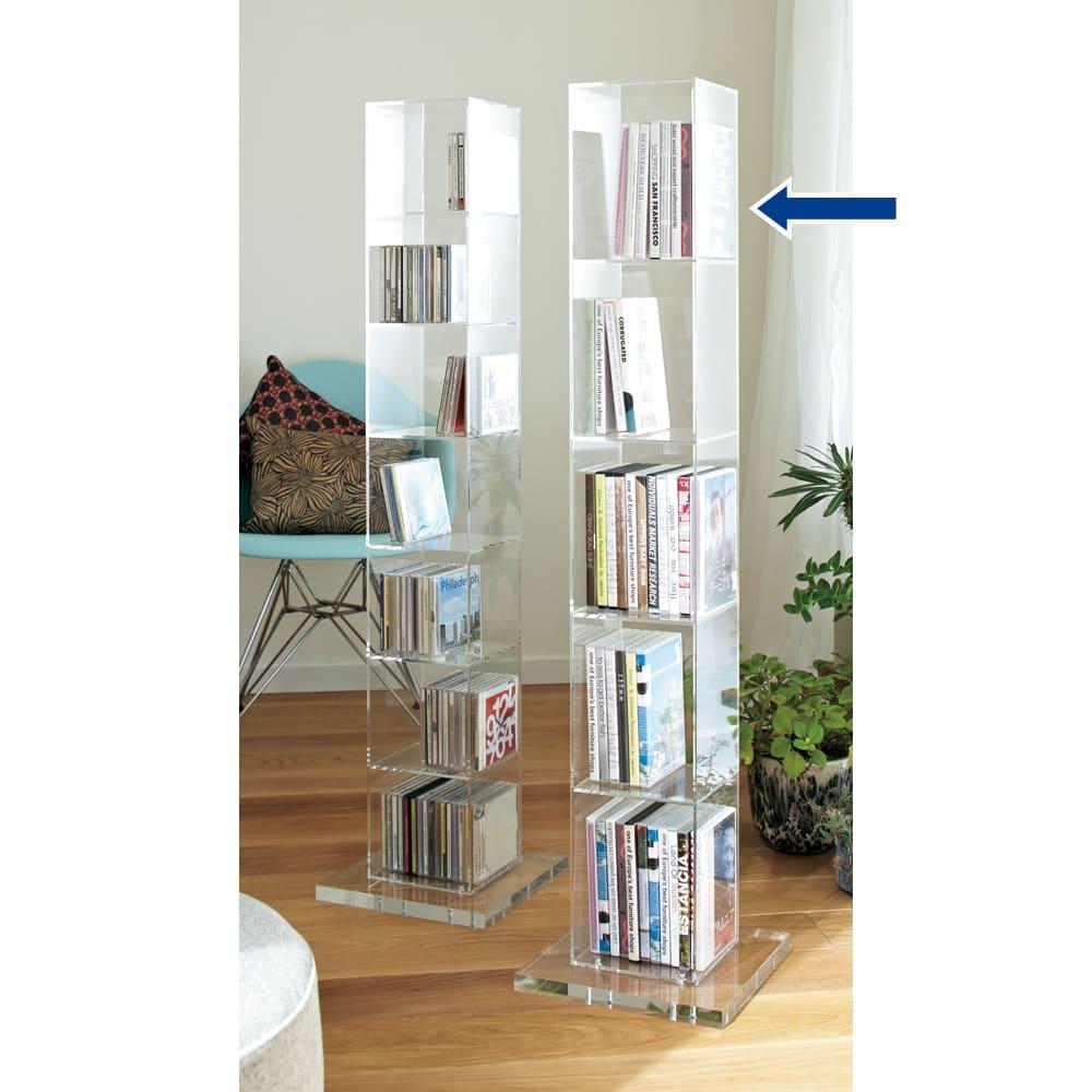 クリアーアクリルシリーズ DVDタワー収納 シリーズのアクリルDVDラックとのコーディネート例。