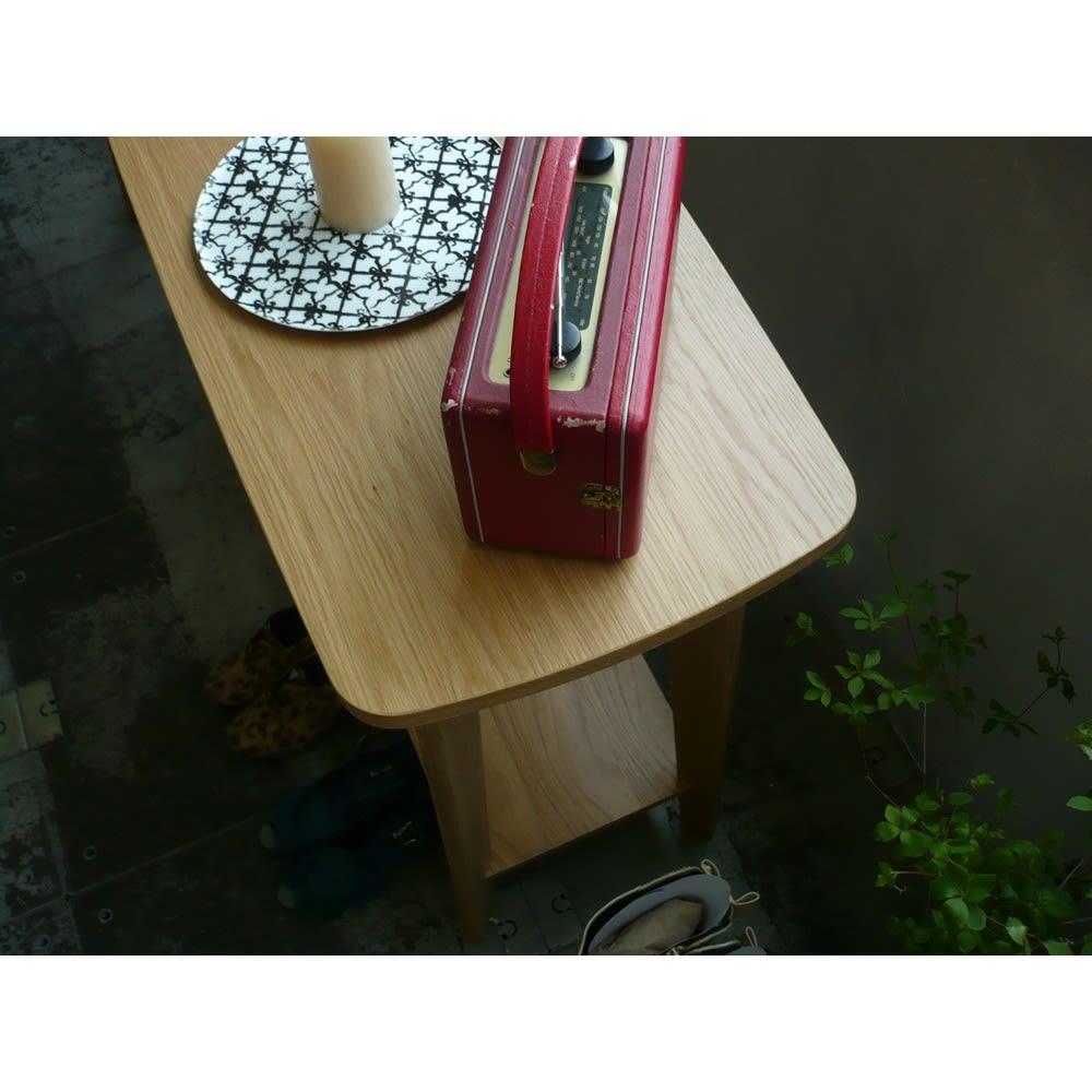 オーク天然木 リビングテーブル 棚付きコンソールテーブル [WOODMAN・ウッドマン]