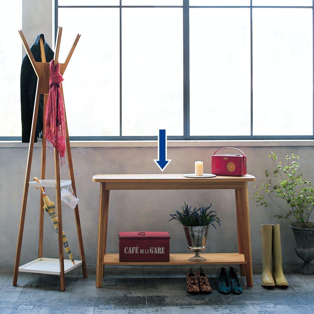 オーク天然木 リビングテーブル 棚付きコンソールテーブル [WOODMAN・ウッドマン] 玄関での使用を想定したスタイリングです。