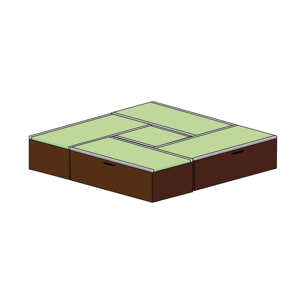 美草跳ね上げ式ユニット畳 お得なセット 高さ45cm 大容量 ミニ4.5畳セット 大容量 (イ)本体ダークブラウン×畳ライトグリーン