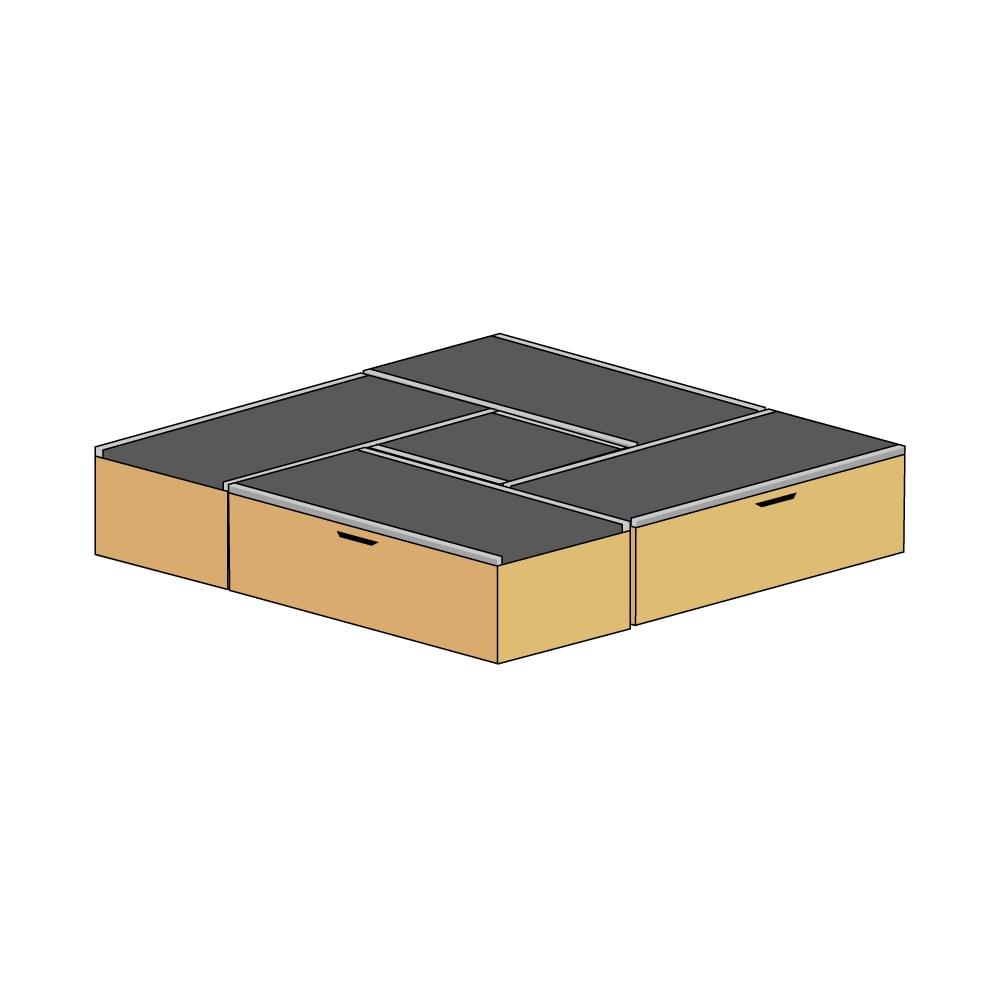 美草跳ね上げ式ユニット畳 お得なセット 高さ45cm 大容量 ミニ4.5畳セット 大容量 (ウ)本体ナチュラル×畳ブラック
