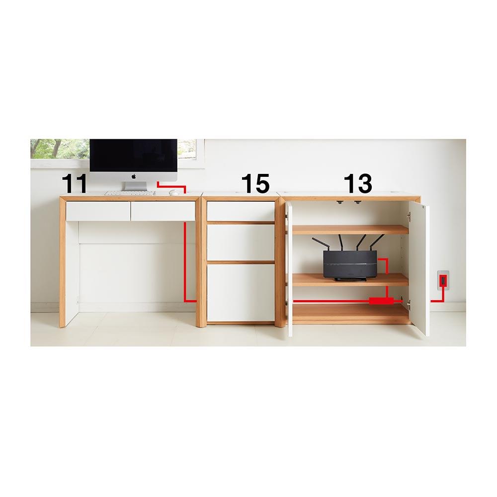 Torta/トルタ ナチュラルモダンデスク チェスト 幅45cm 天板から側面へコードが通せるので、壁付けをしたまま配線できます。天板と側板に配線穴があり、壁付けしたままの配線が可能です。収納内部に家電が収まるのですっきり。