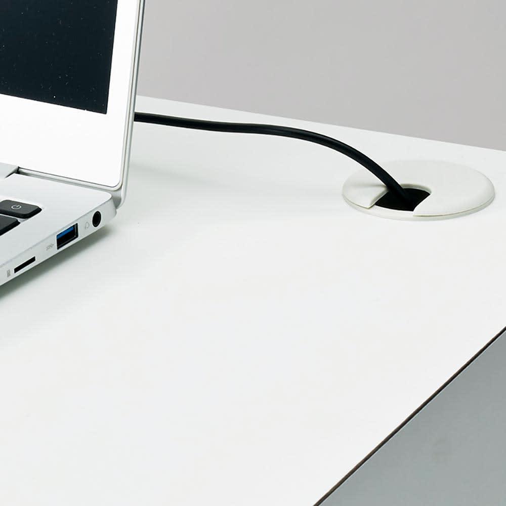Torta/トルタ ナチュラルモダンデスク チェスト 幅45cm 天板に配線穴があるので、充電器などのコード類もすっきり収納できます。