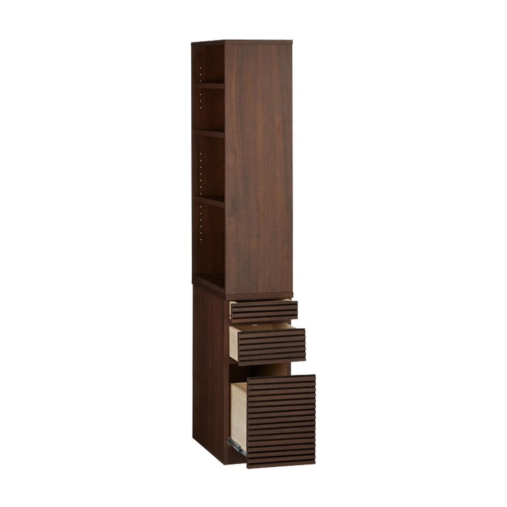 Gulf/ガルフ 格子デザイン デスクサイドすき間ラック 棚のオープン部は左右設定可能。