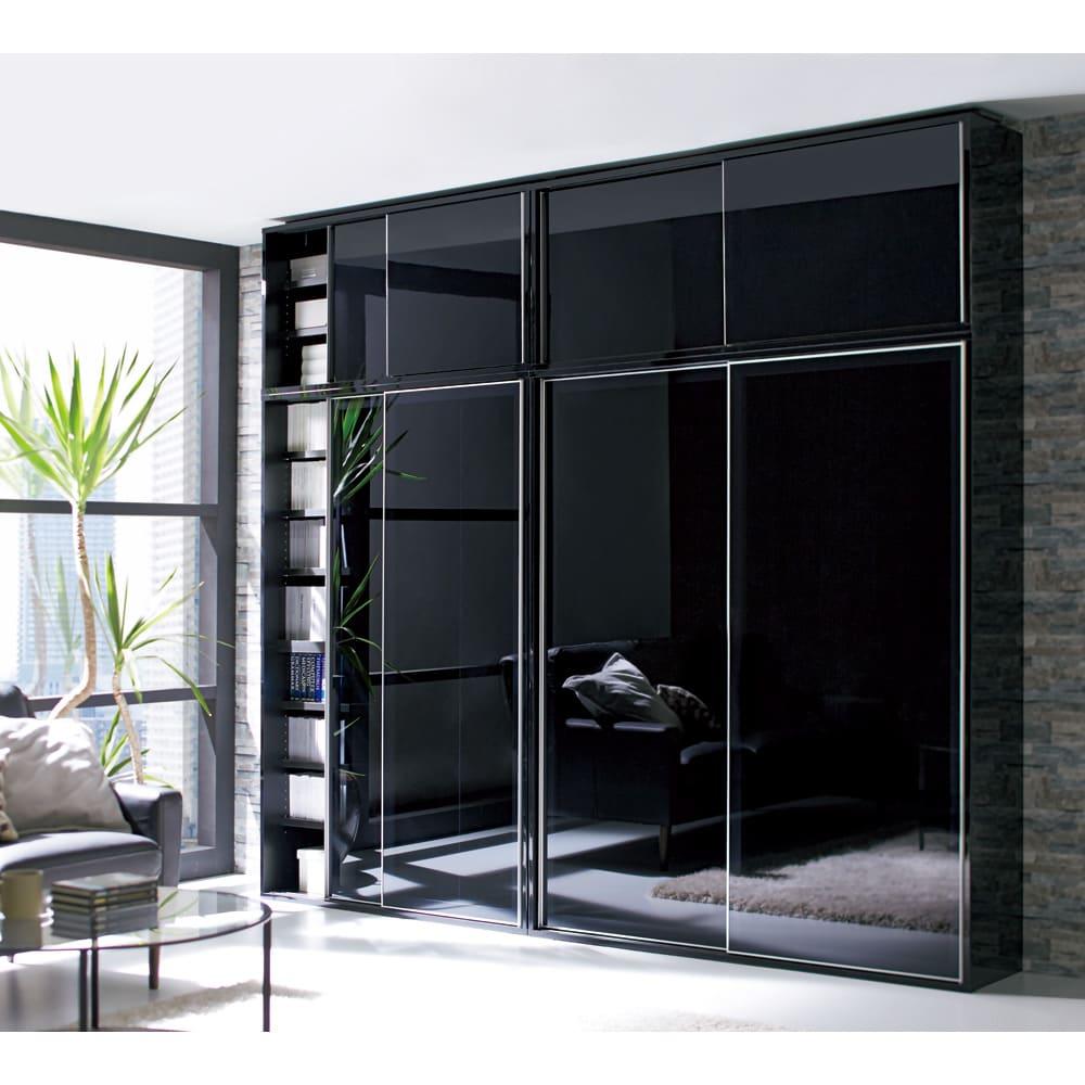 Evan(エヴァン) スライドシェルフ ハイタイプ本棚 幅120cm [コーディネート例]ブラック 左からハイタイプ幅120cm+上置き(高さ60cm~)、ハイタイプ幅150cm+上置き(高さ60cm~)の組み合わせ