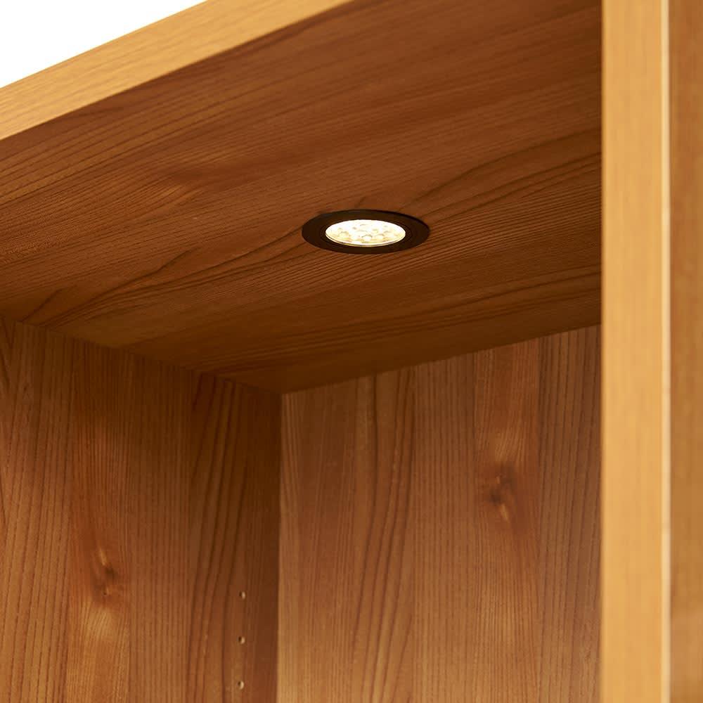K'astani/カスターニ LEDライト付きバイカラーコレクション本棚 幅79cm