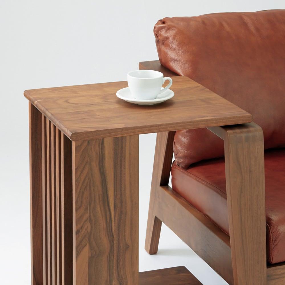 Green/グリーン オーク天然木 ソファサイドワゴン・キャスター付きソファサイドテーブル ※写真はウォルナット天然木タイプです。