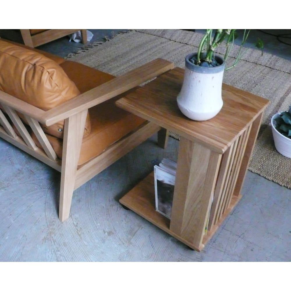 Green/グリーン オーク天然木 ソファサイドワゴン・キャスター付きソファサイドテーブル