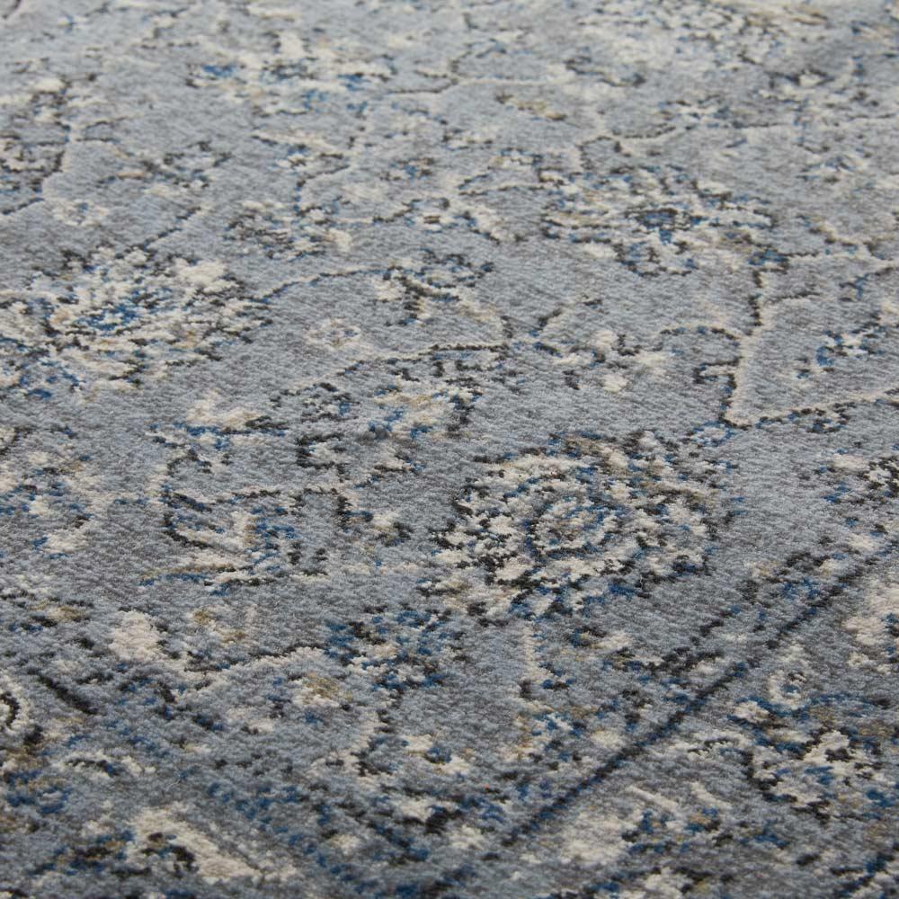 Davinci/ダヴィンチ ウィルトン織ラグ ブルーグレー 高密度なので耐久性にも優れ、ウールのような弾力のある踏み心地。繊細な柄も表現できます。