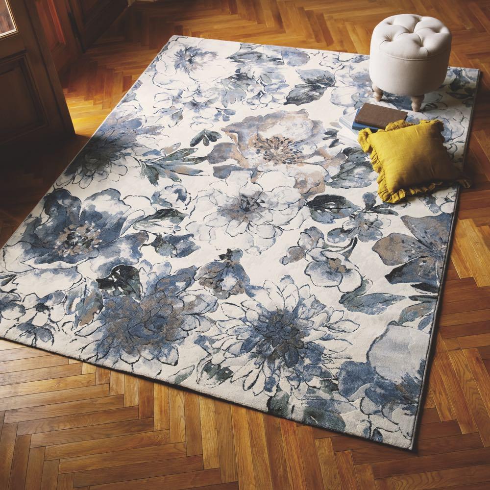 ベルギー製ウィルトン織りラグ〈フィデリオ〉 (イ)ブルー系・約200×250cm