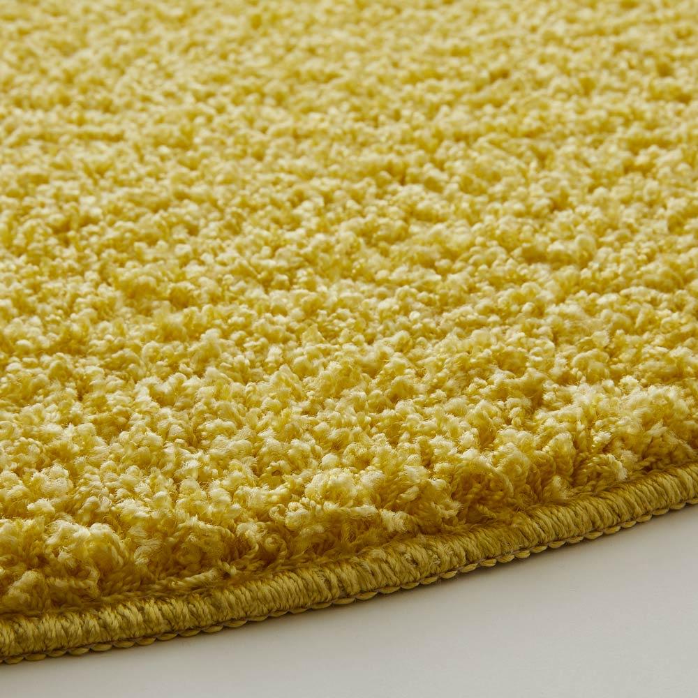 日本製ナイロン100%洗えるツイストシャギーラグ [素材アップ]イエロー