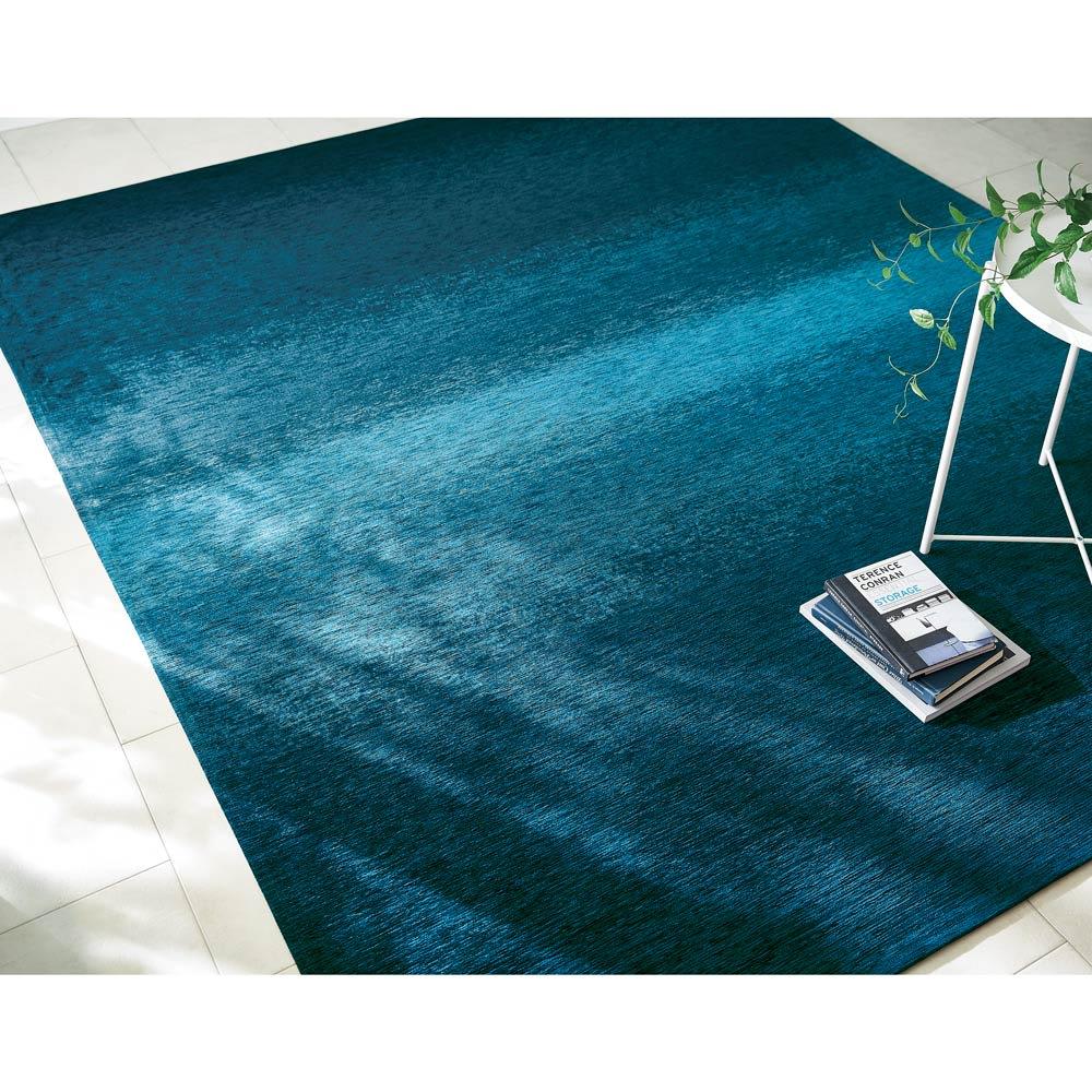 カーテン 敷物 ソファカバー カーペット ラグ マット 約200×200cm(Gradation/グラデーション ベルギー製シェニール織ラグ) H80740