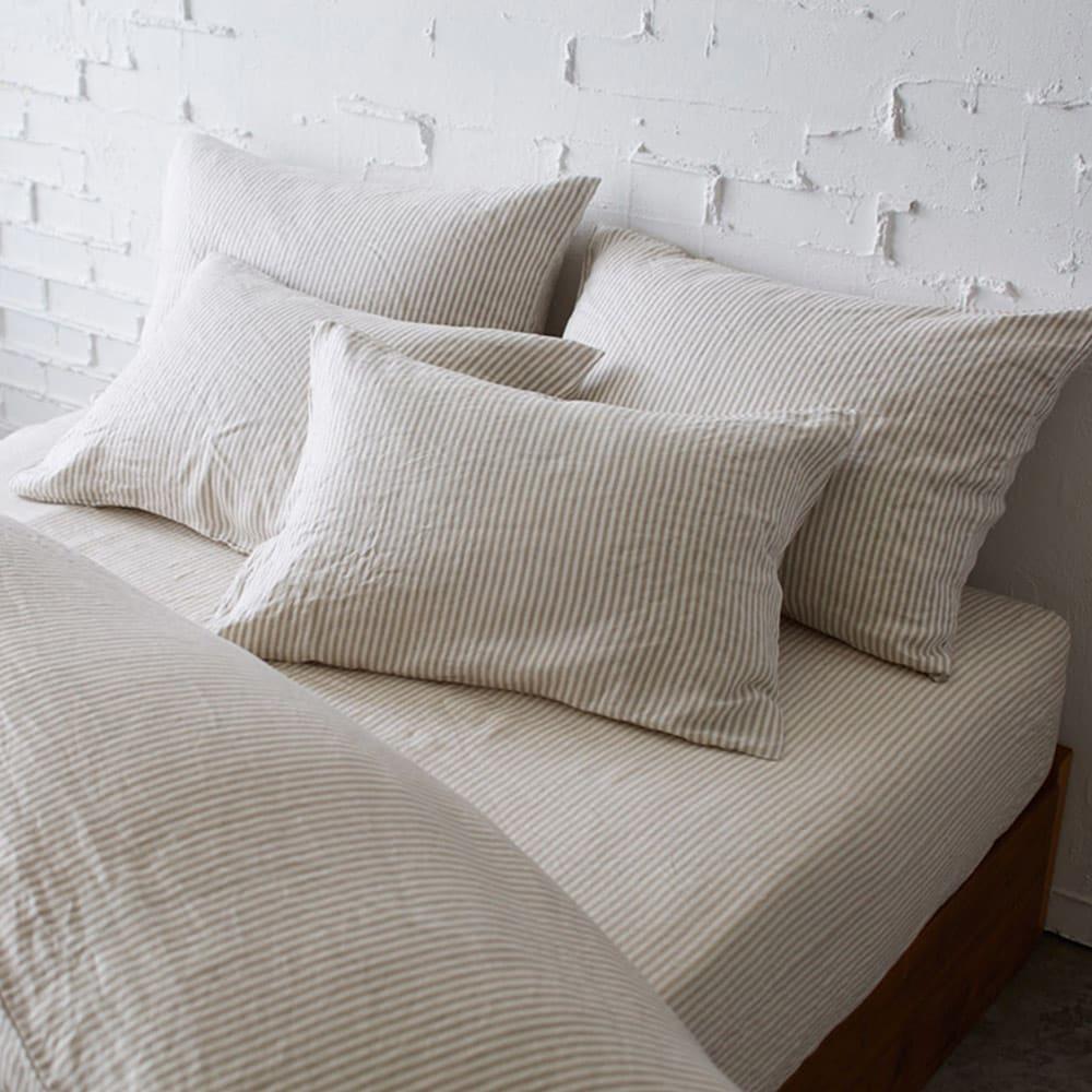 French Linen/フレンチリネン ヘリンボーン織カバーリング ベッドシーツ [コーディネート例](ウ)ナチュラル(WEB限定色) ※お届けはベッドシーツです。