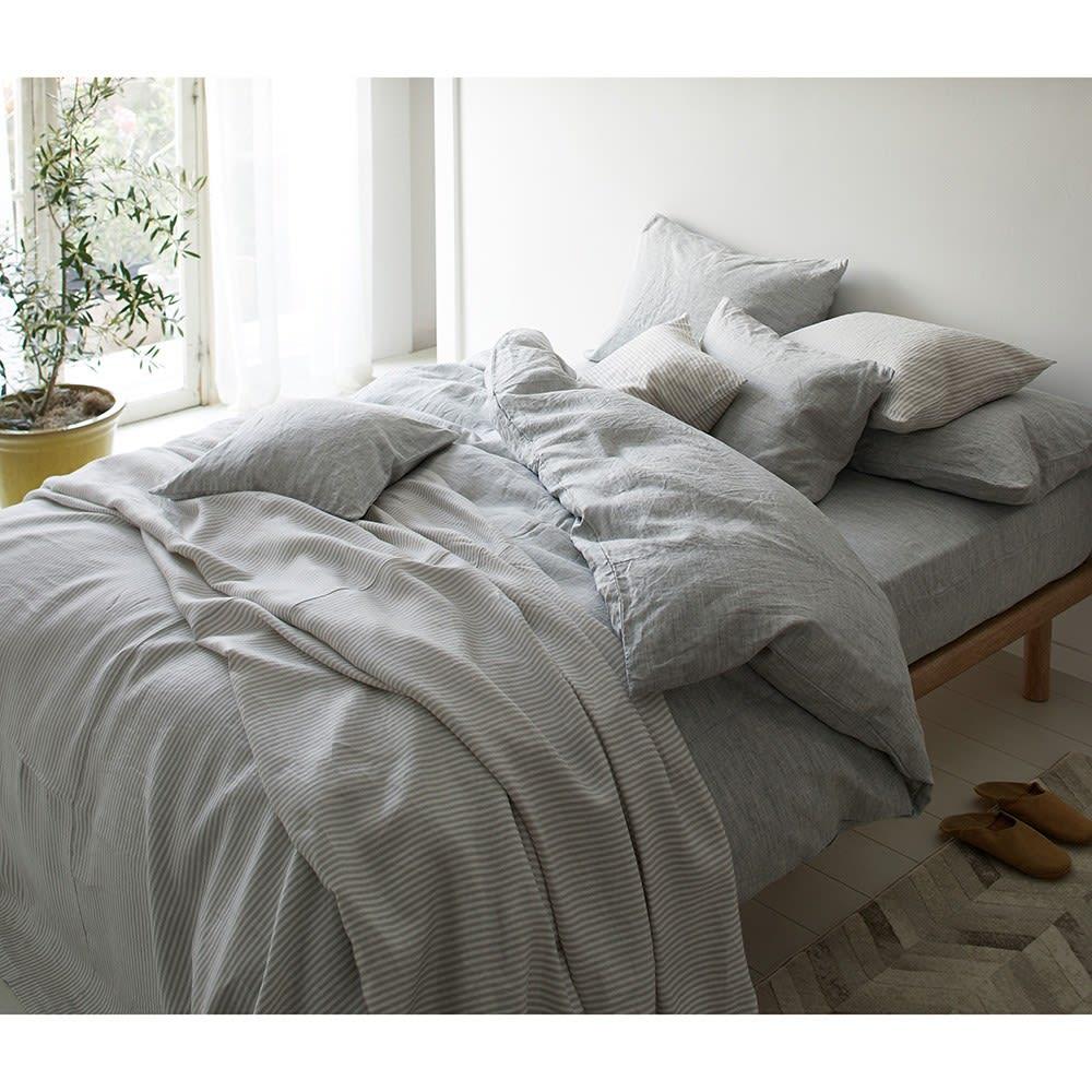 French Linen/フレンチリネン ヘリンボーン織カバーリング マルチカバー [コーディネート例](ア)グレー