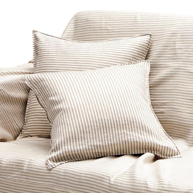 French Linen/フレンチリネン ヘリンボーン織カバーリング クッションカバー (ウ)ナチュラル(WEB限定色)