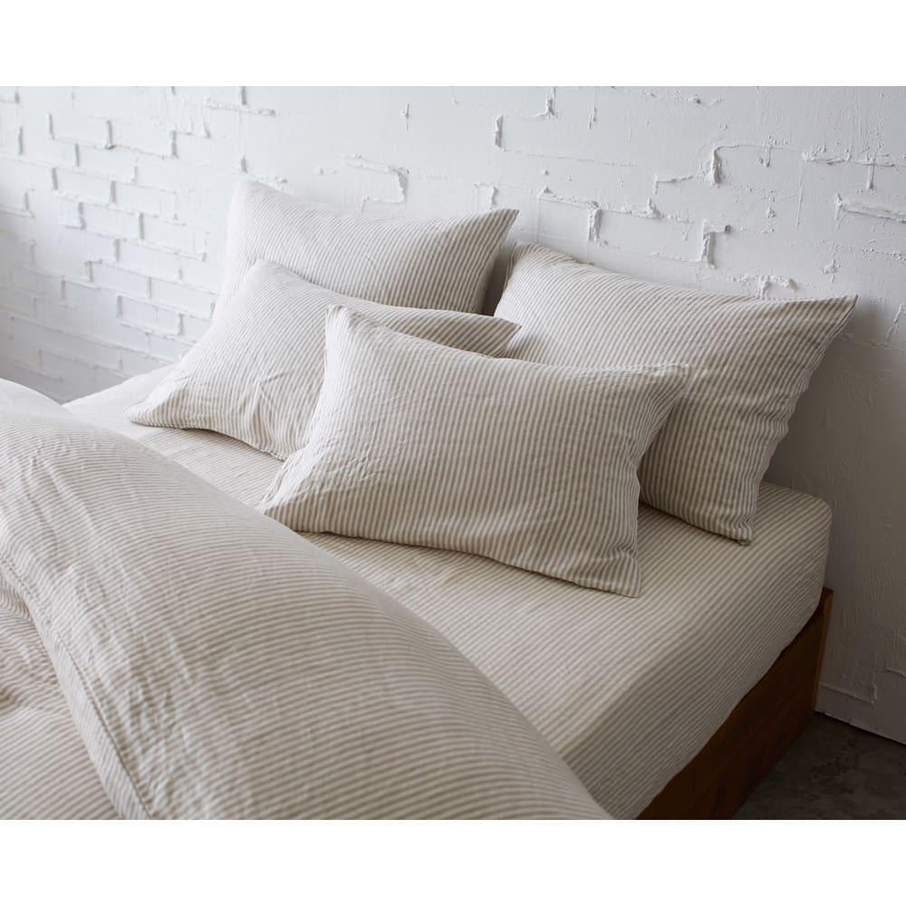 French Linen/フレンチリネン ヘリンボーン織カバーリング クッションカバー (ウ)ナチュラル(WEB限定色) ※お届けはクッションカバーです。