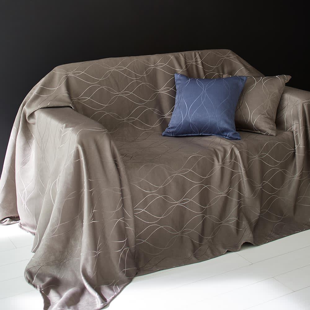 ホテル仕様ジャガード織カバー スプレッド ブラウン (約240×270) ソファカバーとしても