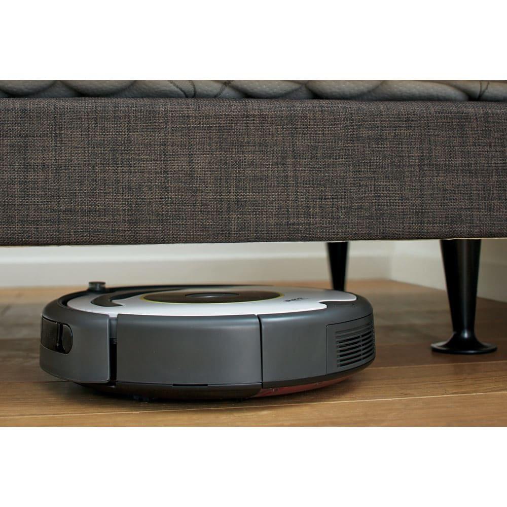 【配送料金込み 組立・設置サービス付き】【カバー付き】SIMMONS ダブルクッションベッド 5.5インチポケットマットレス お掃除ロボットに対応…脚部の高さを14cmにすることで、一般的なお掃除ロボットに対応。気になるベッド下の空間をいつも清潔に保てます。