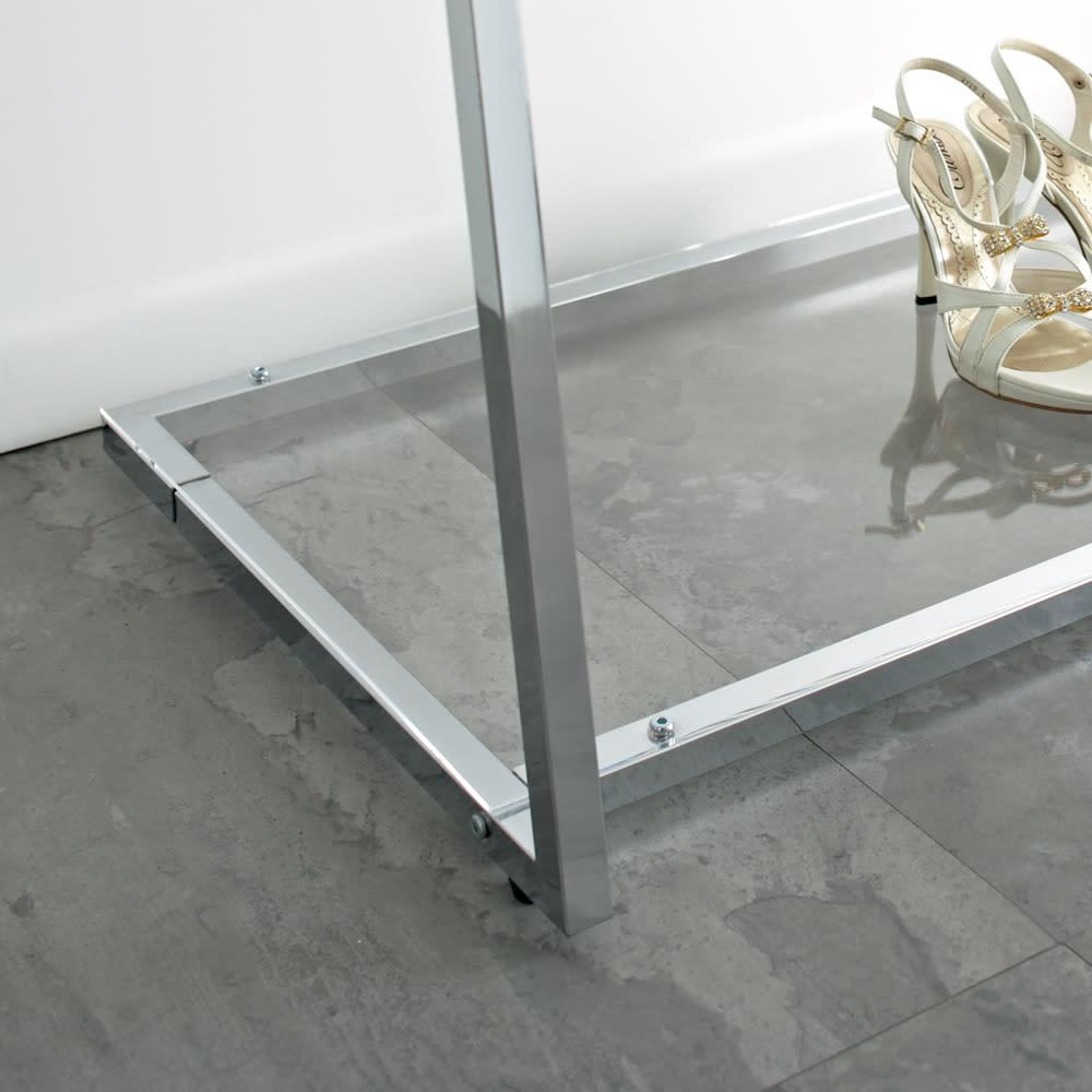 Lettre(レットル) ハンガーラック 幅100cm 美しい透明性のアクリル棚がインテリアにラグジュアリー感をプラスします。