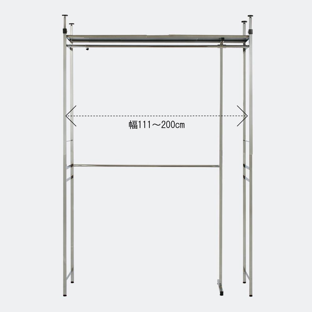 Varie(バリエ) クローゼットハンガーラック 幅120cm~200cm対応 本体の幅は120~200cmに伸縮できます。設置スペースに合わせてムダなくぴったり設置できます。