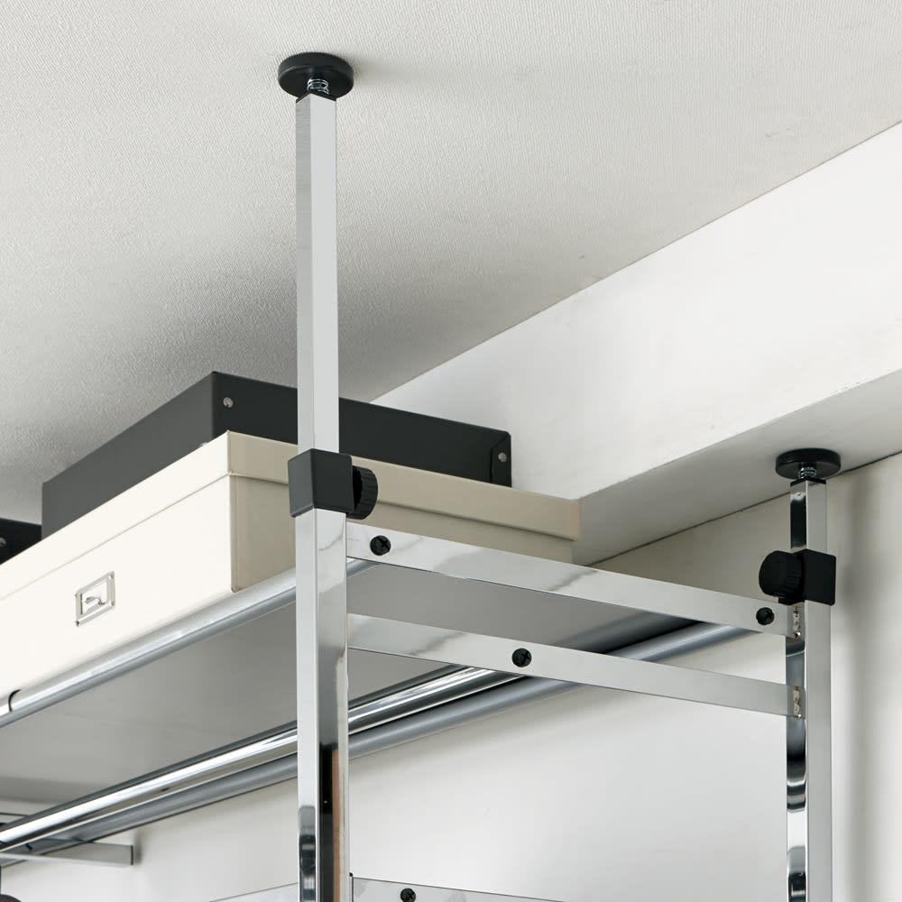 Varie(バリエ) クローゼットハンガーラック 幅120cm~200cm対応 天井に梁などの複雑な段差があってもしっかり安定して設置できます。