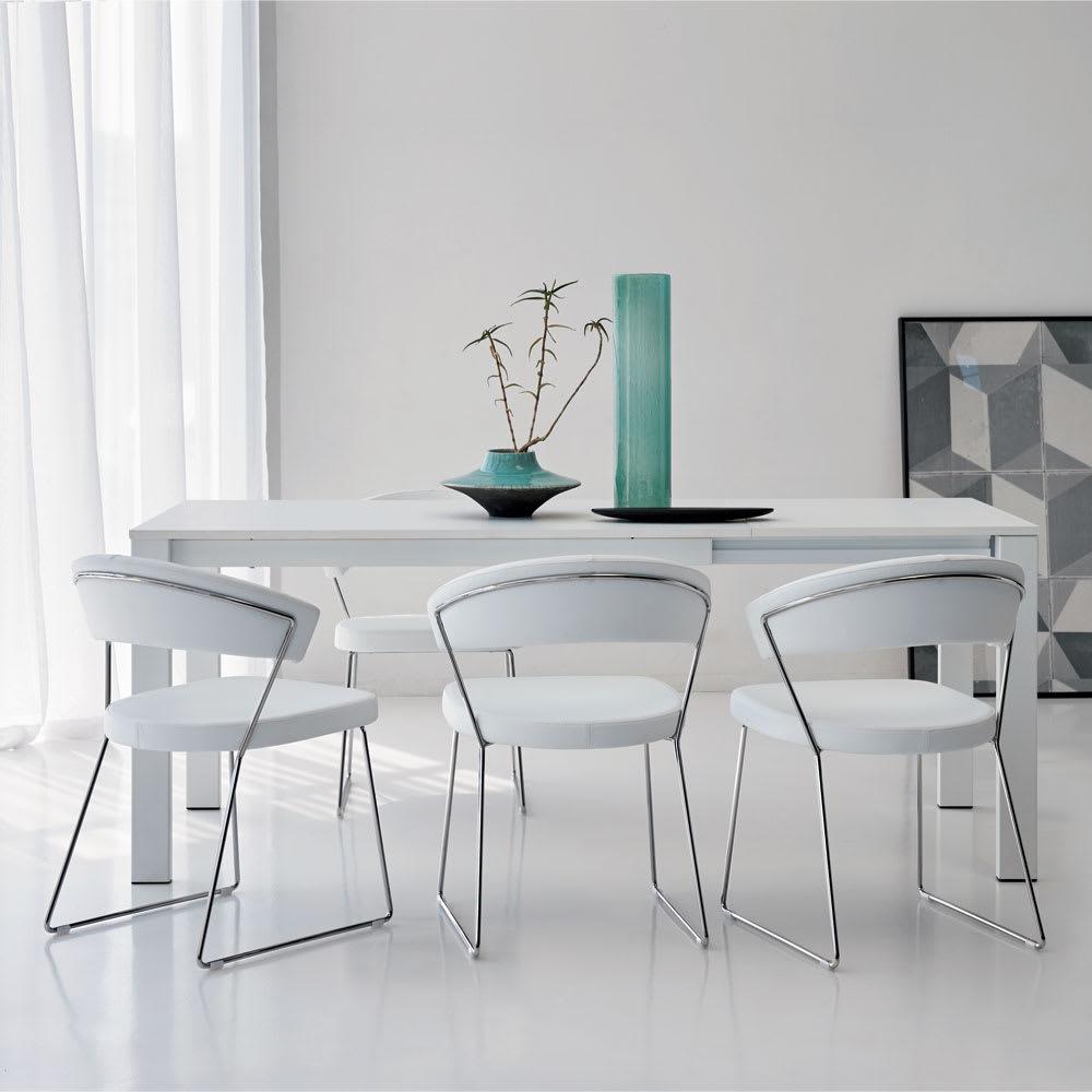 5点セット イタリア製伸長式ダイニングテーブル+NewYorkチェア4脚  テーブル幅130cm(伸長時190cm) ブラック/ミックス ダイニングセット・ダイニングテーブルセット