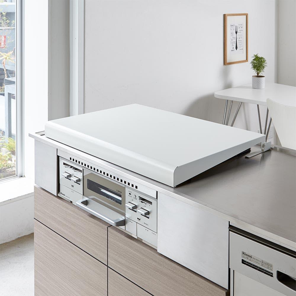 キッチン 家電 キッチン収納 水切り シンク下 コンロまわり収納 ストッパー付きビルトインコンロカバー コンロ幅75cm用 H77014