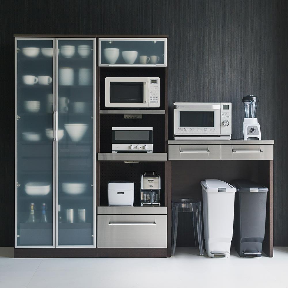 SmartII スマート2 ステンレスシリーズキッチン収納 ステンレスレンジボード 幅60cm コーティネット例 (イ)ウェンジ系
