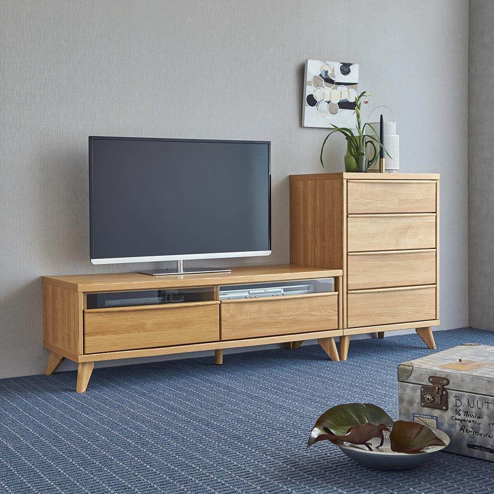 Charente/シャラント リビングボード テレビ台 幅130cm コーディネート例 ※お届けは左「テレビ台幅130」です。