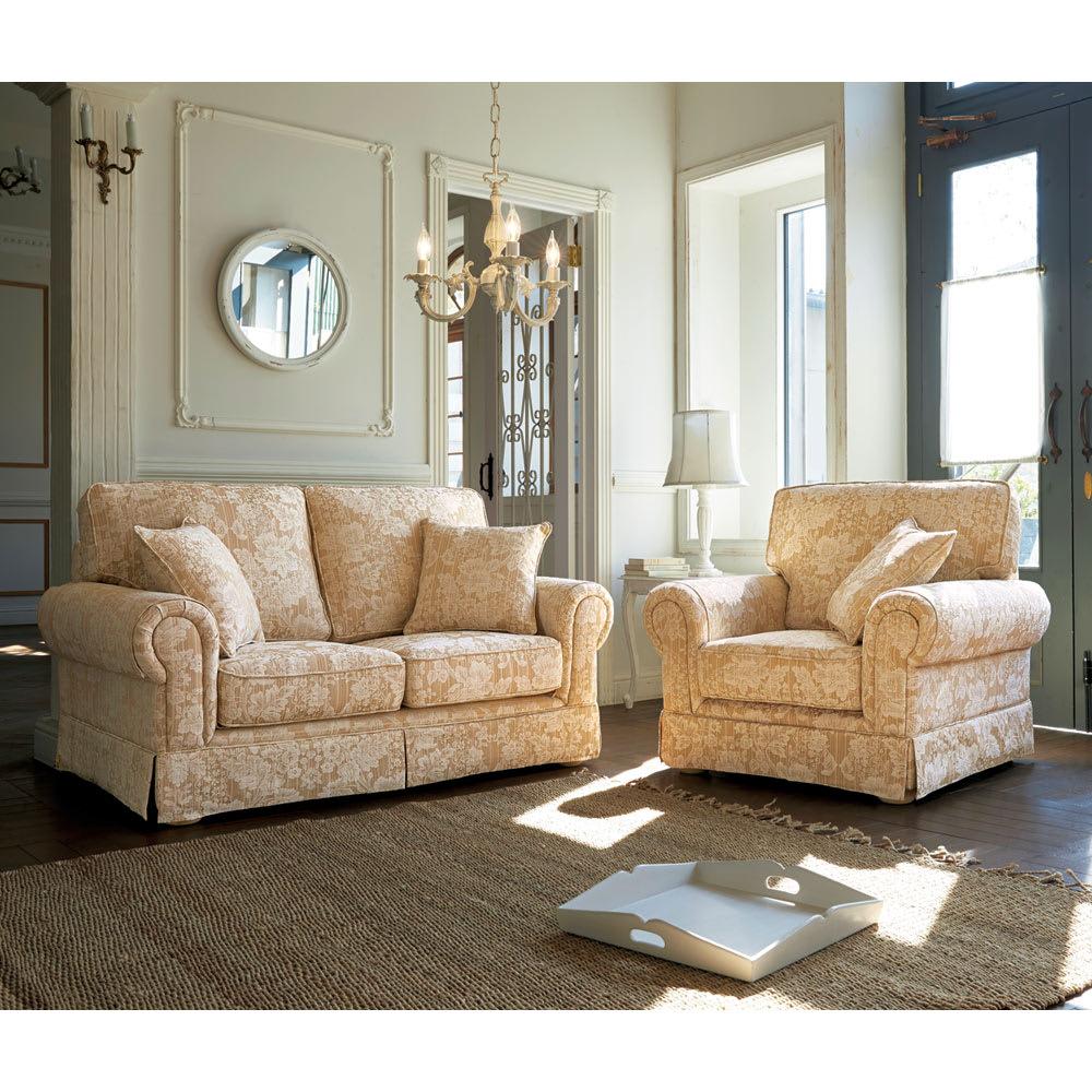 家具 収納 ソファー 2人掛けソファー ラブソファー クラシカルソファ 幅158cm ラブ・二人掛け H79802